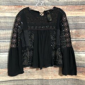 Free People New Romantics XS Black Embroidered Embellished Fancy Huh Top